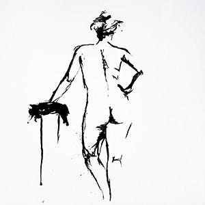 Croquis tegninger, tegnet med blæk
