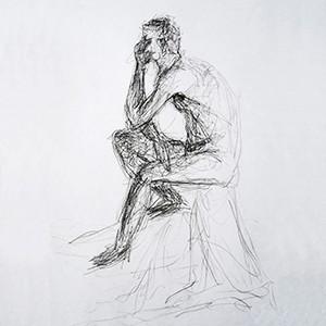 Croquis tegninger, tegnet med blyant